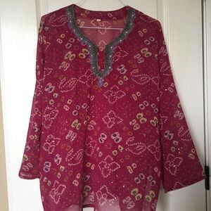 Pink multicolored indian inspired blouse